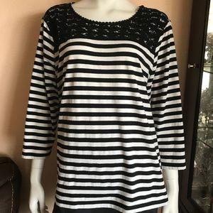 Chicos Striped Black & White Crochet Neck Blouse